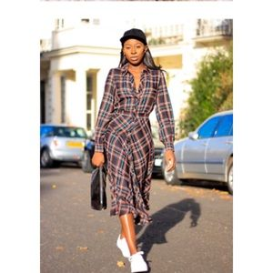 H&M Plaid Button Through Midi Shirt Dress